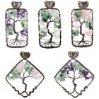 Rhombus Rectangle Wire Wrap Tree Of Life Gemstone Pendant Jewelry Fit Necklace