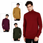 Brave Soul Mens Hume New Designer High Roll Funnel Neck Knitted Cotton Jumper