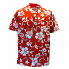 Mens Clancey Classic Authentic Red Hibiscus Hawaiian Shirt S-2XL