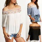 Fashion Women Off Shoulder Casual Short Sleeve Lace Slim T-Shirt Top Blouse New