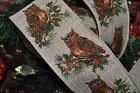 Ribbon Queen Owl and Holly Christmas Burlap Wired Wire Edge Burlap Vintage  2.5