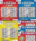 £50,000 to £250,000 - FAKE WINNING LOTTERY SCRATCHCARDS - Scratch Cards