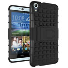 Shockproof Armor Rubber Rugged Hybrid Kickstand Case Cover For HTC Smartphones