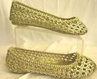 LADIES GOLD FLAT WOVEN SUMMER CASUAL SHOES SPOT ON - F8760