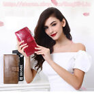 Women Oil Wax Genuine Leather Long Wallet Handbag Card Holder Checkbook Clutch