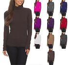 Cotton Jersey Solid Long Sleeve Fitted Turtleneck Top S M L