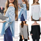 Womens Sexy Off Shoulder Long Sleeve Plus Size T Shirt Casual Loose Tops Blouse