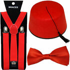 DOCTOR DR WHO BRITISH CULTURAL FANCY DRESS FEZ HAT RED BOW TIE & BRACES 1960'S