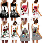 Sexy 3D Women View Graphic Print Singlet Slim Sleeveless Pleated Skater Dress