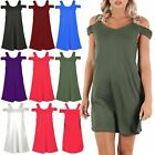 Womens Ladies Sleeveless Strappy Cami Cut Out Shoulder Tunic Swing Mini Dress