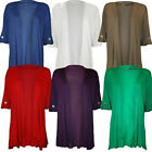 Plus Size Womens Waterfall Button Sleeve Open Front Cardigan Top 14-28