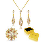 New Swirl Bridal Set 18K Gold Tone Pendant With Earrings & Pin Brooch Gift