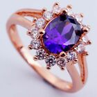Rose Gold Plated Purple Cubic Zirconia Vintage Styled Dress Ring - Jewellery