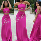 2016 Newest Two Piece Evening Dresses Bandage Wrapped Chest Rose Red Dress Party