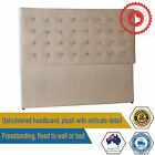 New King or Queen King Size BedHead Headboard Upholstered Fabric Almond Denver