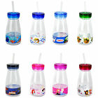 CHILDREN'S OFFICIAL LICENSED CHARACTER MILK BOTTLES WITH STRAW BRAND NEW