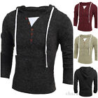 2016 Fall Outwear Men V-neck Knitted Hooded Pullover Sweatshirts Sweater T-shirt