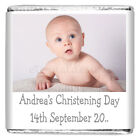 Personalised Christening Day Silver Milk Chocolate Square Favour CDLSC1