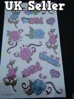 1 x SHEET UNISEX TEMPORARY TATTOOS GLITTER BLING ARTY PINK BLUE FLOWERS ROSES UK