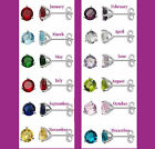 Sterling Silver Birthstone Coloured Cubic Zirconia Stud Earrings 5 mm