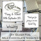 Personalised DIY Wedding Day Silver Milk Chocolate Square Favours Gifts WDLSC12