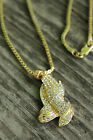 "NEW ICED OUT PRAYING HAND PENDANT & 24"" BOX/ROPE CHAIN HIP HOP NECKLACE - XMP62G"