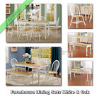 Farmhouse Dining Table Set Tables Chairs Benches Country Room Kitchen, White Oak