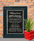 Unplugged Wedding Sign No phone turn Off  Chalk Board print Style Vintage aa102