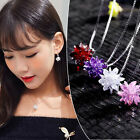 Pretty Crystal Colorful Gemstone Flower Women Pendant Chain Alloy Necklace Gift