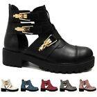 Ladies Womens Cut Out Flats Heel Chunky Buckle Military Biker Ankle Boots Shoes