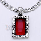 8P35 Men Stainless Steel Silver Ruby Rick Ross Pendant 6MM Cuban Necklace Chain