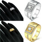 Mens Fashion 18K Gold Plated Zircon Band Ring Wide Band Size 8 9 10