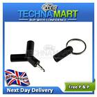 2 Way 3.5mm Male to Female Headphone Audio Splitter Connector Key chain Black