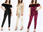 Womens Ladies Off The Shoulder Crushed Velour Velvet Bardot Frill Jumpsuit