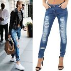 Womens Destroyed Rip Distressed Straight Fit Denim Ladies Jeans Bottom Trousers