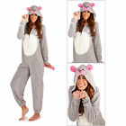Womens 3D Cute Mouse Onesie Ladies Super Soft Hooded All In One With Ears & Tail