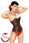 Black Red Gold Brocade Overbust STEEL BONED Burlesque SEXY CORSET By Playgirl