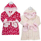 Girls Fairy Princess Crown Dressing Gown Robe Pink Infant Christmas Bath Robe