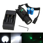 Green/Red Laser Sight LED Flashlight Combo+Picatinny Rail Mount Battery
