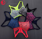 Womens Seamless Racerback Sports Bras Wirefree Padded Yoga Tops Tank Workout Gym