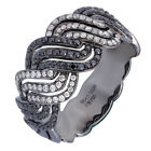 18K White Gold 0.68ct Eyes-Catching Sleek Pave Diamond & Black Diamond Ring