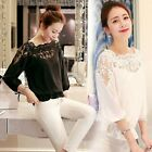 Fashion Women Summer Loose Casual Chiffon Long Sleeve Lace T-Shirt Tops Blouse