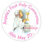 Personalised High Gloss Communion Day Circle Stickers Seal **Girls Designs**