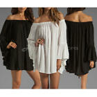 Womens Holiday Mini Dress Ruffle Sleeve Off Shoulder Tops Cocktail Short Dress