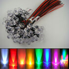 20x 12V Red Yellow Blue Green White Orange purple Pink RGB 10mm Pre Wired LED