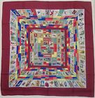 """Auth HERMES """"Correspondance"""" by Caty Latham Red Silk Scarf 9206"""