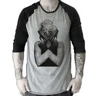 Marilyn Monroe-Gun Tattoo Skull Grafitti Art Baseball t-shirt 3/4 sleeve Raglan