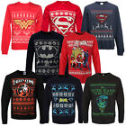Adults DC Comics Superhero Theme Christmas Jumpers New Festive Xmas Sweater Top