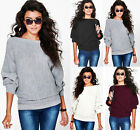 UK Women Loose Knitted Batwing Sleeve Jumper Sweater Ladies Casual Knitwear Tops