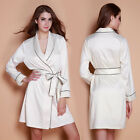 Women's Luxury Mid-Length Long Sleeve Silky Satin Robe White Nightwear Sleepwear